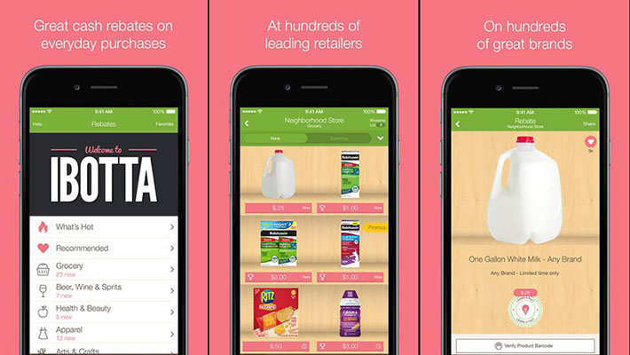 Screenshots of the Ibotta mobile app showcasing groceries