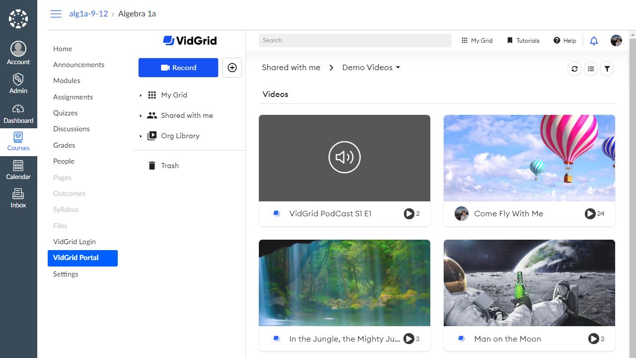 VidGrid video content management shown inside the Canvas LMS